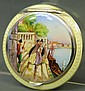 FINE SILVER AND GUILLOCHE ENAMEL COMPACT. Top well