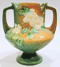 ROSEVILLE POTTERY WHITE ROSE VASE.  146-6.