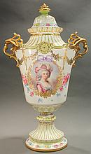 ROYAL BONN-GERMANY HAND PAINTED PORTRAIT URN.  Signed J. Duren.  Lavish floral