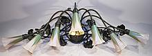 LUNDBERG STUDIOS LILLY LAMP.  Art glass and bronze comprised of 7 pulled feather