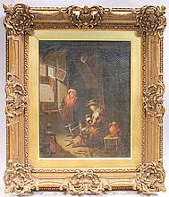 DUTCH SCHOOL.  19th/20th century.  Classical 17th century style interior scene w
