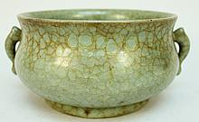 CHINESE CELADON CRACKLEWARE CENSER BOWL.  9 1/4