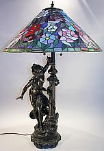 FLORAL LEADED GLASS DECORATOR TABLE LAMP.  French style figural base depicting a