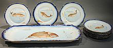BAVARIA (GERMANY) FISH SET.  Porcelain with transfer designs of various fishes.