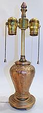 SIGNED HANDEL TABLE LAMP BASE.  Brass plated white metal in the