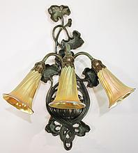 AFTER LUNDBERG STUDIOS:  Lilly lamp, three light art glass and bronze.  The fixt