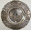 DUTCH .850 FINE SILVER WINE COASTER.  With native Dutch scenese of windmills, ca nals, etc.  Ca. 1900.  Hallmarked.  6