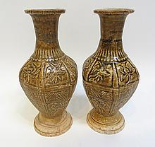 Pair Brown Glaze Vases