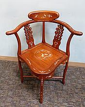 Huanghuali & Mother Of Pearl Corner Chair