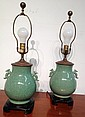 Pair Of Celadon Glaze Lamps