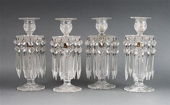 Set of four Anglo- Irish cut glass drop prism candlesticks