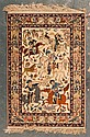 Fine Ispahan on silk hunting rug, Iran, circa 1960, approx. 3.7 x 5.3