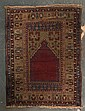 Semi-antique Turkish prayer rug, Turkey, circa 1930, approx. 3.10 x 5.1