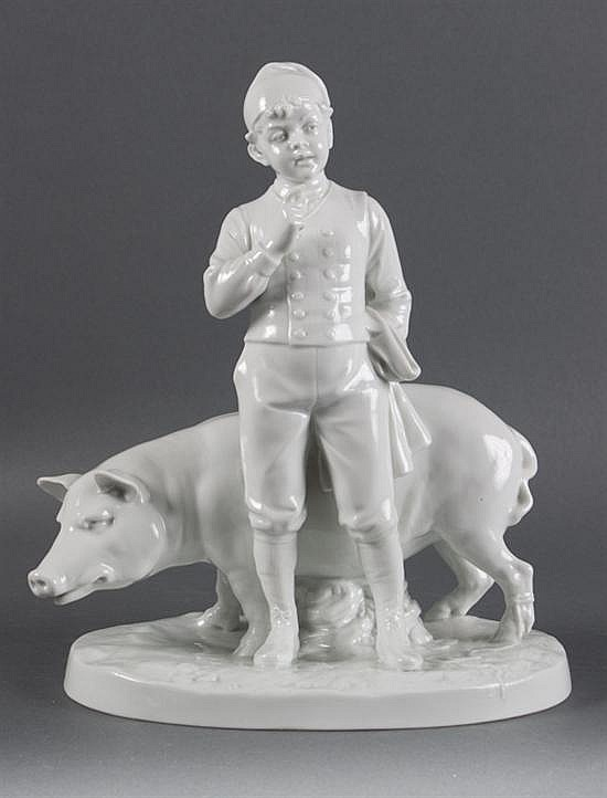 Fraureuth white porcelain figural group of a boy and pig