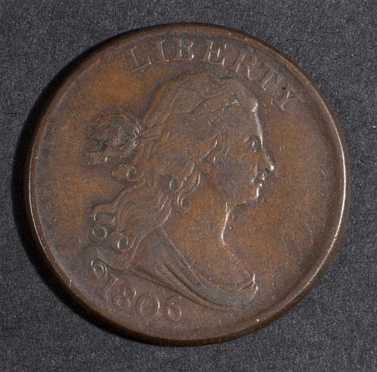 United States draped bust type copper half cent, 1806, large