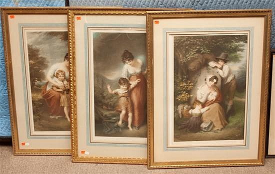 Louis Busiere. Three framed color lithographs depicting peasant life