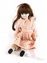 Continental bisque porcelain and cloth doll