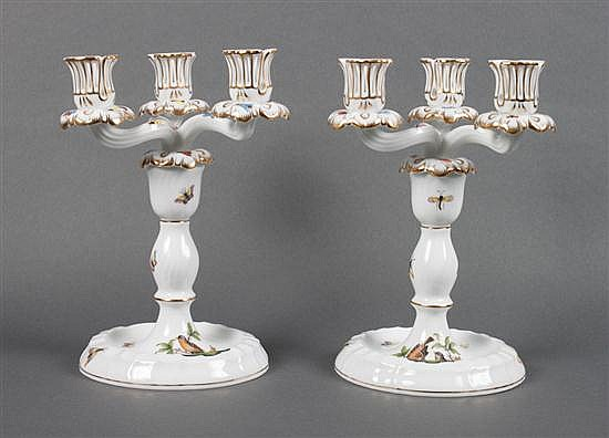 Pair of Herend porcelain three-light candelabra in the
