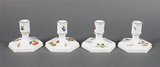 Set of four Herend porcelain candleholders in the