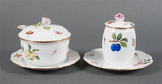 Herend porcelain condiment jar and similar jelly jar in the