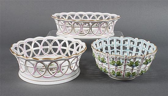 Three Herend reticulated porcelain baskets in the