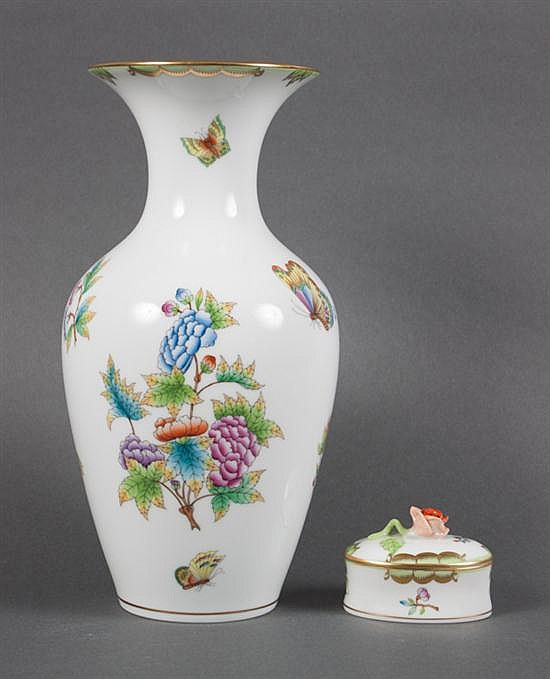 Herend porcelain baluster vase in the