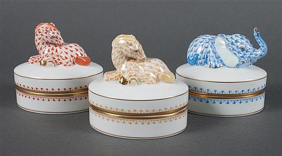 Three Herend porcelain animal figure trinket boxes in the