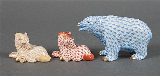 Three Herend porcelain animals in the