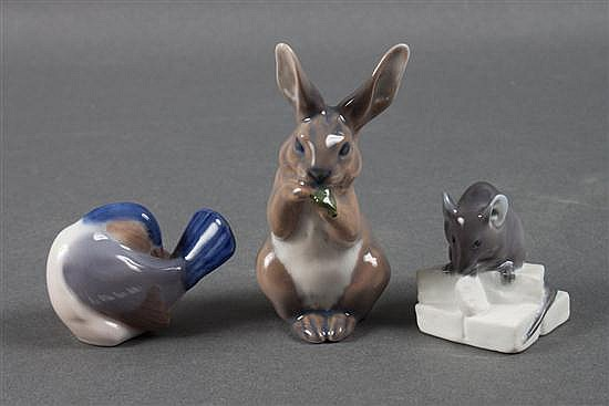 Three Royal Copenhagen porcelain animals: bird, rabbit and mouse