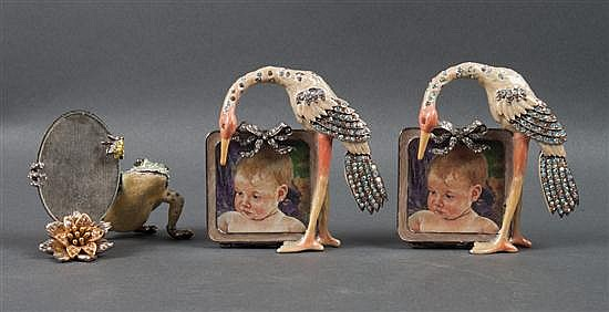 Pair of Jay Strongwater enameled metal and bejeweled stork miniature picture frames, and a similar frog picture frame