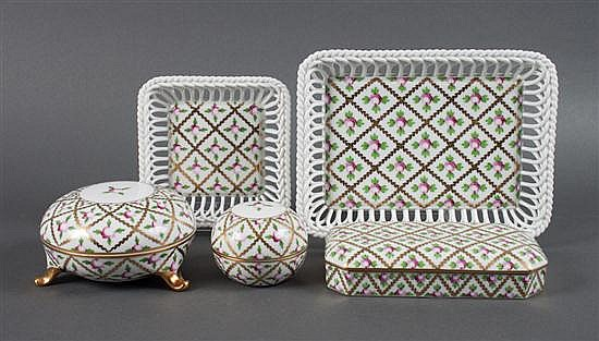 Three Herend porcelain vanity boxes in the
