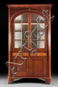 Federal tiger maple and cherrywood glazed panel door corner cupboard, Pennsylvania