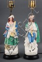 Pair of Staffordshire earthenware figures of 18th century musicians, mounted as lamps