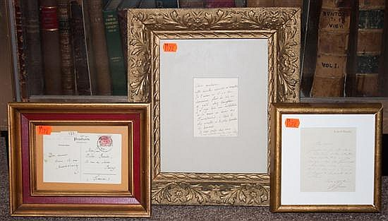 [Autographs] Anatole France (French novelist) ALS and ANS, and Jean-Leon Gerome (French Artist, 1824-1904) ALS