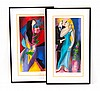 Linda Le Kinff. Pair of color screenprints, framed, Linda LeKinf, $40