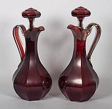 Pair of Bohemian ruby glass claret jugs
