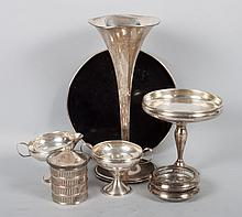American weighted sterling silver table articles