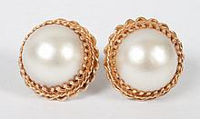 Pair of Victorian 14K gold & mabe pearl earrings