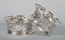 Pair of Georgian style sterling dish rings