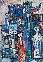 Shulamit Tal. Two Women, gouache on paper
