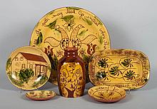 Assorted yellow slip-glazed redware items