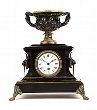 Napoleon III bronze and marble mantel clock