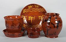 Assorted contemporary American redware pottery