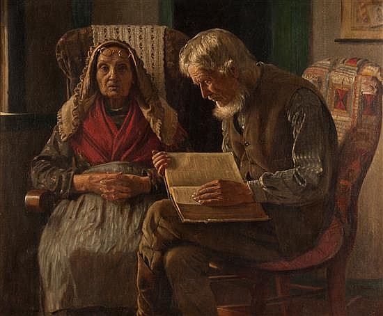 John George Brown, American, 1831-1913, Pious Couple, oil on canvas, 25 1/4 x 30 1/4 in., framed