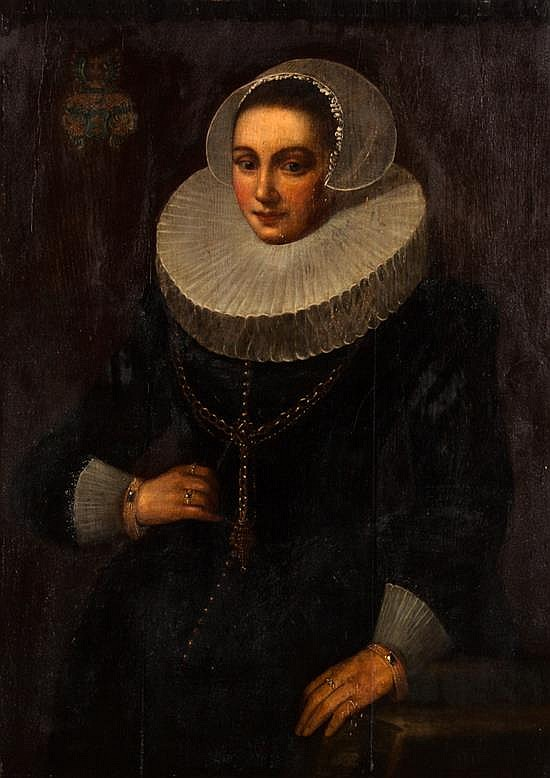 Jan Anthonisz Van Ravesteyn, Dutch, 1572-1657, Portrait of Madame Hendrik, oil on cradled panel, 39 3/4 x 28 1/4 in., framed