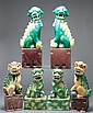 Three pairs of Chinese Export Famille Verte porcelain foo dogs