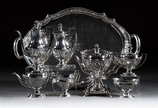American sterling silver seven-piece coffee, tea, and chocolate service with matching tray, Tiffany & Co., NY