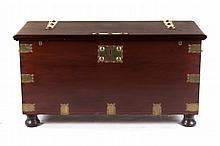 British Colonial brass-mounted walnut trunk