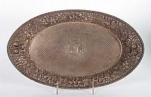 Jacobi & Co. repousse sterling silver bread tray