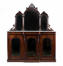 Victorian inlaid walnut marble-top server